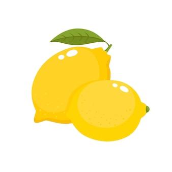 Bright  set of colorful half, slice and segment of juicy lemon. fresh cartoon lemons isolated on white background.