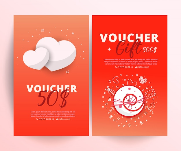 Bright set of gift voucher with flower and leaves