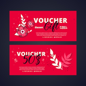 Bright set of gift voucher with flower and leaves.
