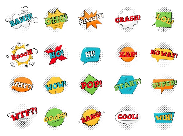 Bright set of lettering symbols, stickers, labels isolated Premium Vector