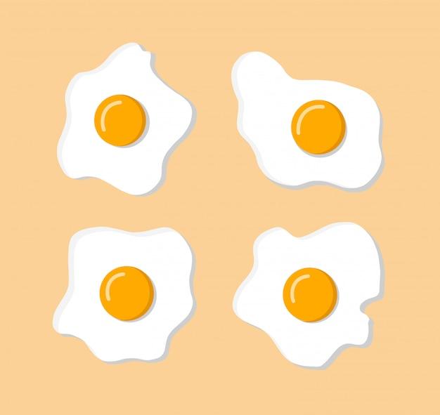 격리 된 배경 노란색에 그림자와 깨진 된 계란의 밝은 세트. 어린이를위한 아침 식사. 색상을 변경할 수 있습니다. 평면 디자인. 직물, 메뉴, 종이, 벽지에 인쇄하십시오. 삽화.