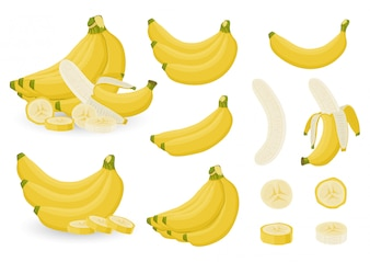 Bright set of bunches of fresh banana and slices of bananas on white background.