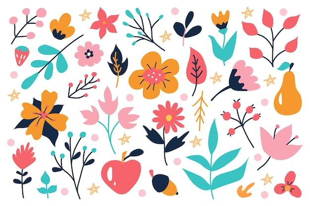 낙서 스타일로 손으로 그린 밝은 식물과 꽃 세트