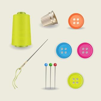 仕立て屋のための縫製アクセサリーの明るいセット