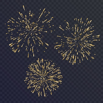Bright set of three elements, fireworks on dark background. illustration
