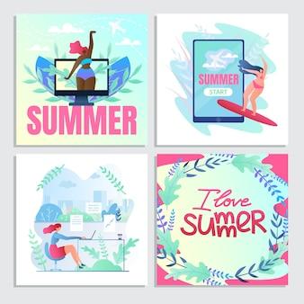 Яркий набор путешествуя летом, я люблю лето.