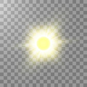 透明な背景に明るい輝く太陽免震。グローライト効果。