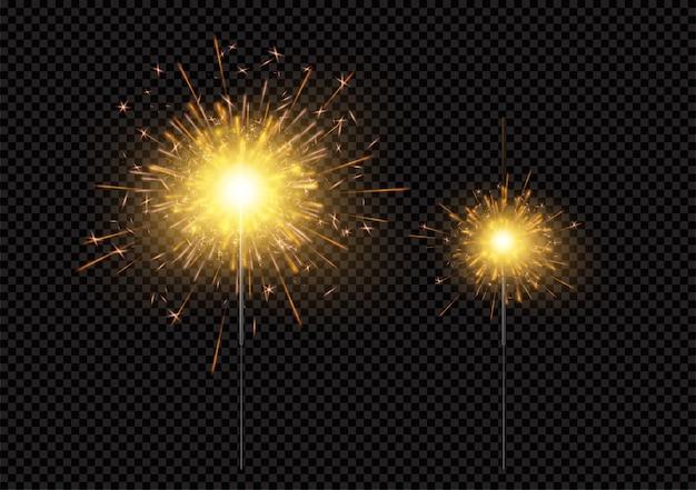 Яркие блестящие сверкающие бенгальские огни, изолированные на черном фоне