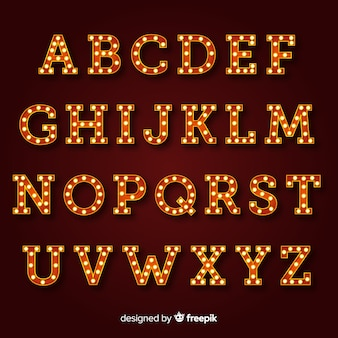 Bright sign alphabet in vintage style