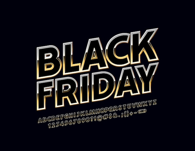 Bright sign black friday chic alphabet letters and numbers