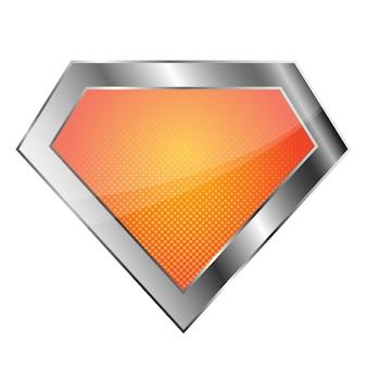 흰색 배경에 밝은 은색 슈퍼 히어로 로고. 광택있는 다이아몬드 로고.