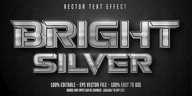 Bright silver text, shiny silver style, editable text effect