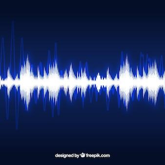 Bright sound wave on dark blue background