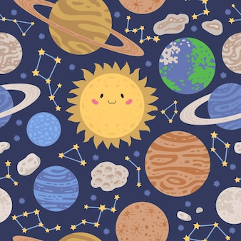 Bright space pattern with planets and stars on blue background
