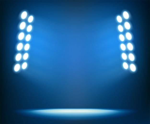 Bright spotlights on dark blue