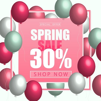 Bright spring card template with balloons pink yellow colored. for sale flyer, poster, e-card, banner, tag design