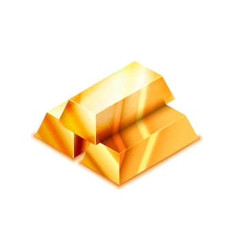 Bright stack of three realistic glossy golden bars in isometric view on white