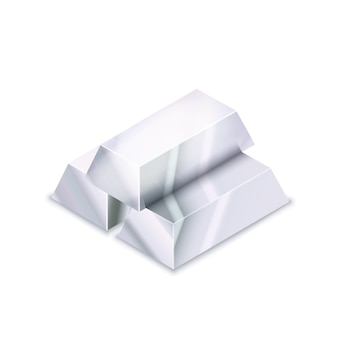 Bright stack of three realistic glossy silver bars in isometric view on white