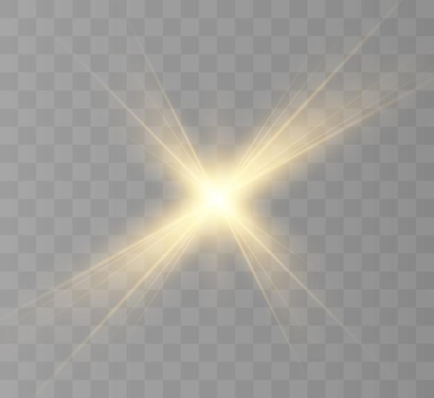 明るい星、明るい太陽、光の効果。