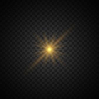 반짝임과 함께 밝은 스타 버스트. 투명한 빛나는 태양.