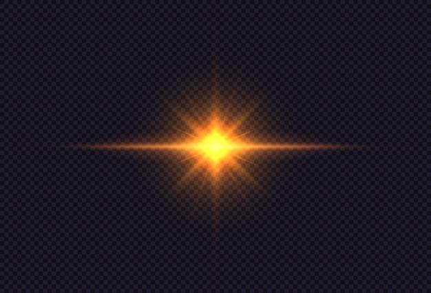 밝은 별. 황금빛 빛나는 빛이 투명한 배경에서 폭발합니다.