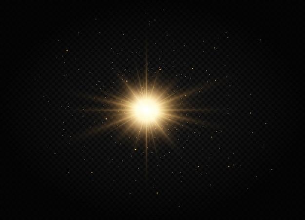 밝은 별 황금 빛나는 빛은 투명한 배경에서 폭발합니다