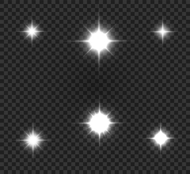 明るい星のイラスト。透明な背景に美しい光線