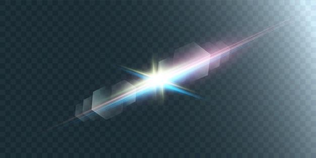 Яркая звездная иллюстрация. красивые лучи на прозрачном фоне