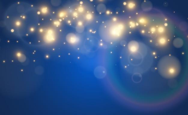 Яркий звездный световой эффект, изолированные на синем
