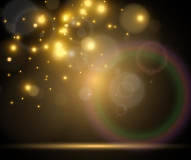 Яркий звездный световой эффект, изолированный на темноте