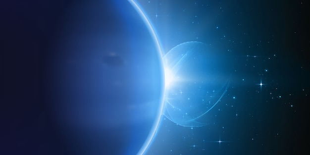 Яркий звездный свет сияет от края планеты