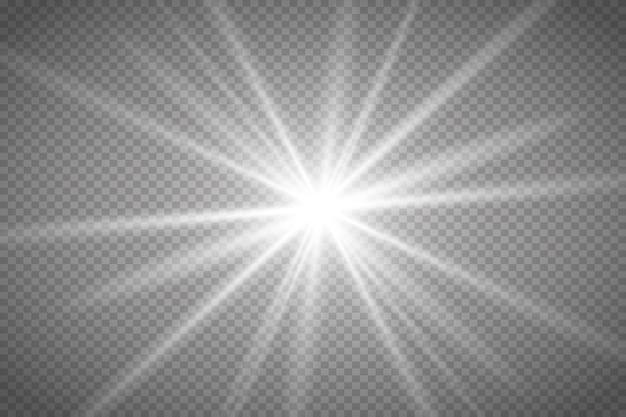 明るい星輝く太陽透明な背景に明るいフラッシュ白い火花キラキラ特別なリグ
