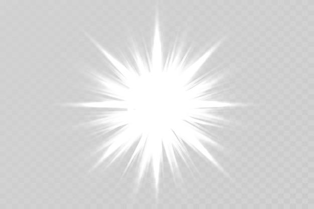 透明な背景に明るい星輝く太陽の明るいフラッシュ
