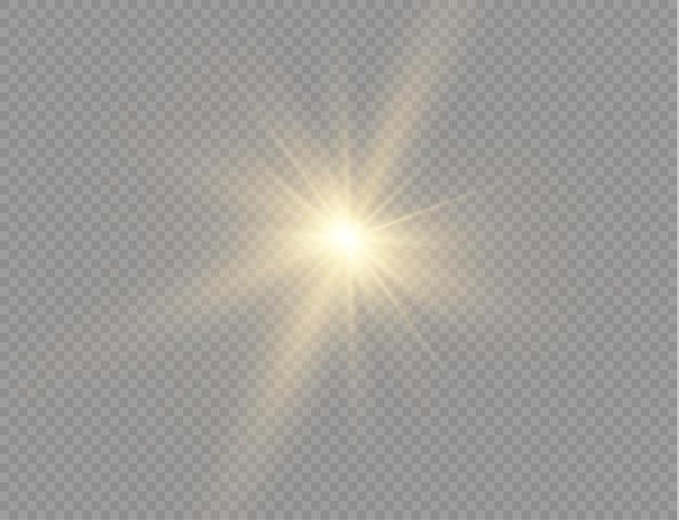 밝은 별. 별은 광채로 터졌다. 노란색 빛나는 빛