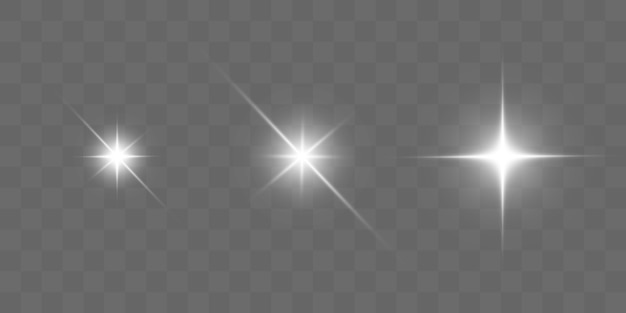 밝은 별. 투명한 밝은 태양, 밝은 플래시.