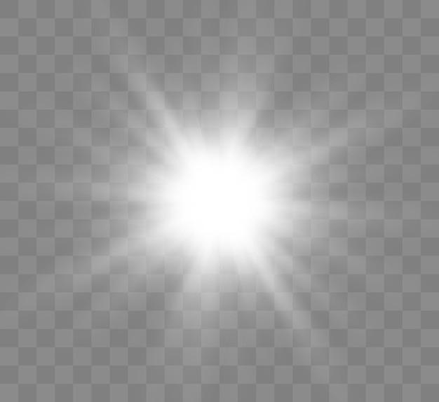 輝く星。透明な明るい太陽、明るいフラッシュ。