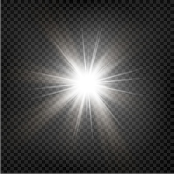 Bright star. transparent shining sun, bright flash.  sparkles. vector illustration