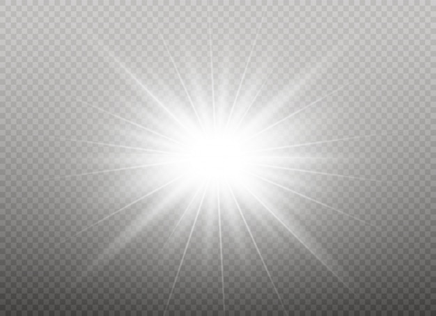 Bright star. transparent shining sun, bright flash. white glowing light explodes on a transparent background. sparkling magical dust particles.  illustration. eps 10.