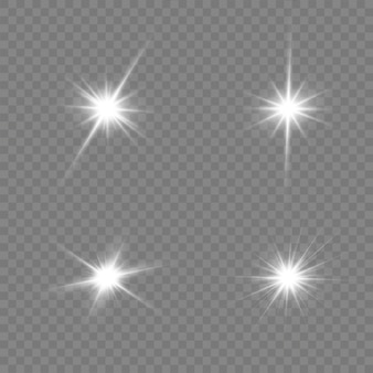 Bright star. transparent shining sun, bright flash. white glowing light explodes on a transparent background.
