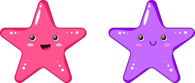 Яркие морские звезды мультфильмов векторные иллюстрации набор