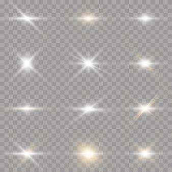 투명 배경에 밝은 별. 빛 버스트와 함께 흰색 빛나는 별. 눈부심, 폭발, 스파클, 선, 태양 플레어.
