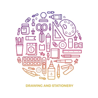 Bright stationery and drawing line icons round