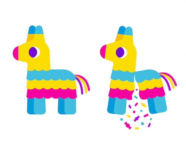 Bright striped cartoon pinata, cute simple flat  illustration. broken with confetti and candy.