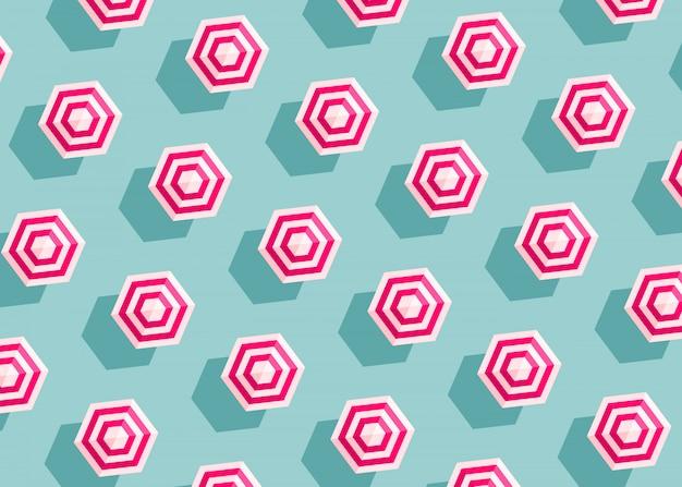 青の背景に明るいストライプパラソルパターン。夏のコンセプト