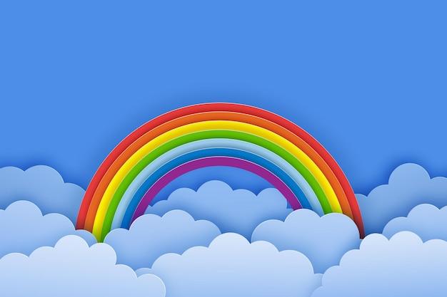 虹の雲と青い空と明るい夏の背景紙カットスタイルのベクトル図