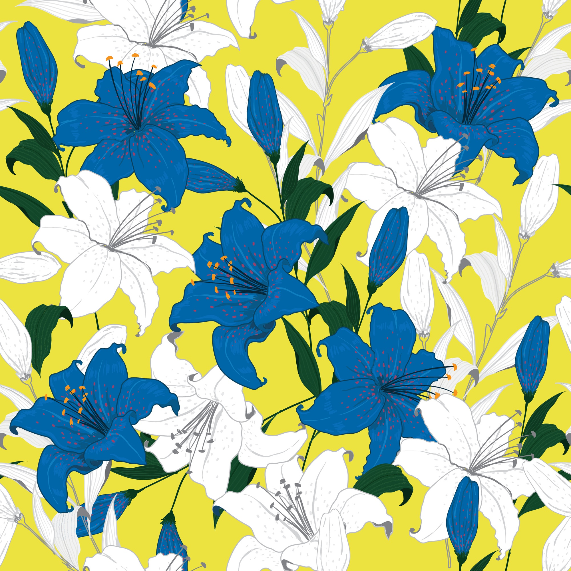 Bright Summer Floral pattern lily flowers Botanical