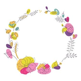 明るい夏の花の季節の花輪。明るいネオン色の花。白色の背景