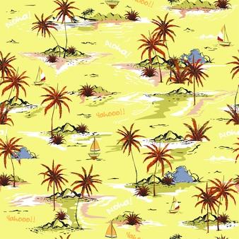 明るい夏の島シームレス島のパターン