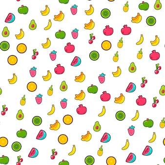 明るい夏のジューシーなフルーツ塗装のシームレスパターン。楽しいキッドスタイルの繰り返しの背景。白い背景のトロピカルプリント。カラフルな自然の壁紙。フラット漫画ベクトルイラスト