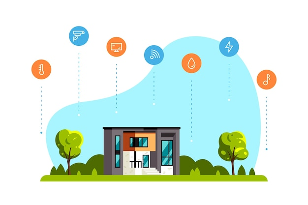 Bright summer landscape with modern house, trees and concept icons.